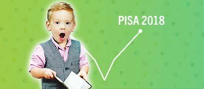 Resultat Pisa 2018 2019 Sverige visas i graf på grön bakgrund med förvånad elev